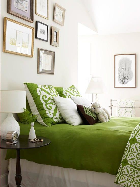 Thiết kế nội thất cho phòng ngủ theo tông màu xanh lá