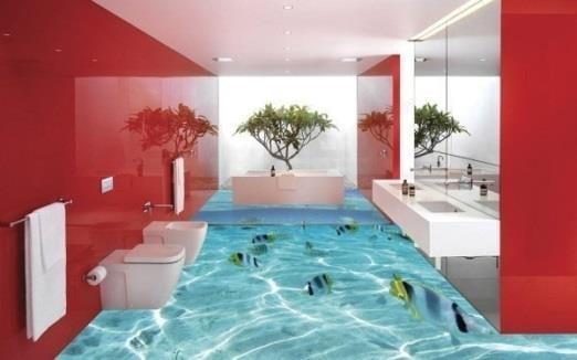 Những sàn nhà tắm được trang trí độc đáo.