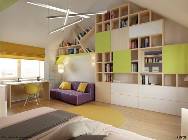"""Thiết kế phòng ngủ cho trẻ với thiết bị trang trí nội thất """"gắn liền"""" phần 2"""