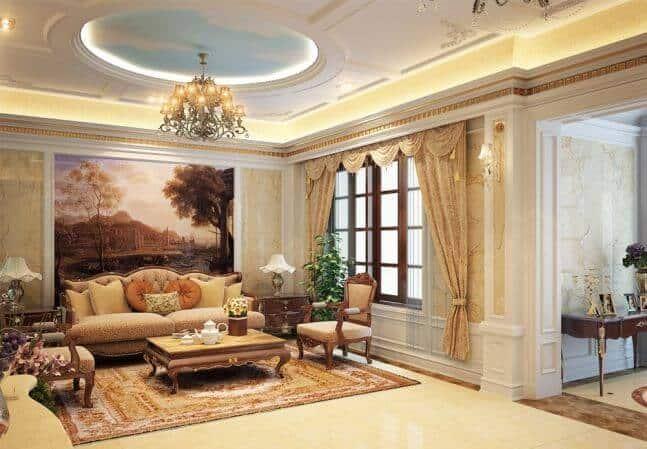 MẪU 5: Trần thạch cao kết hợp sơn trang trí thực sự rất tinh tế và mang hơi hướng quý tộc, phù hợp với những gia đình có phòng khách nhỏ nhưng chiều cao lớn