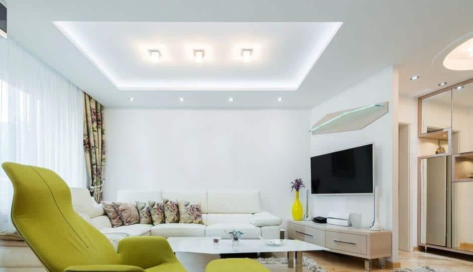 thiết kế trần thạch cao phòng khách đơn giản