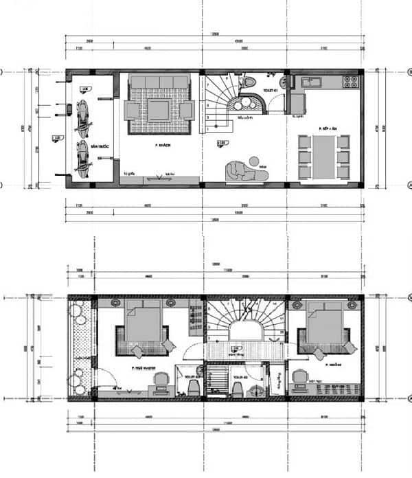 Bản vẽ chi tiết mẫu nhà đẹp 700 - 800 triệu 3 tầng