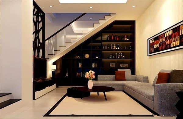 phòng khách nhà đẹp 3 tầng mặt tiền 5m
