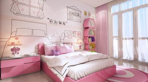 Một thiết kế phòng ngủ dễ thương khác dành cho con gái lớn.