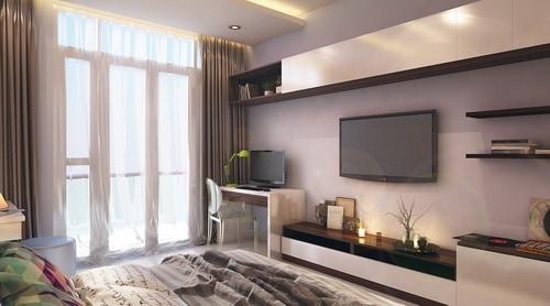 Phòng ngủ dành cho vợ chồng gia chủ đơn giản và thoáng mát.
