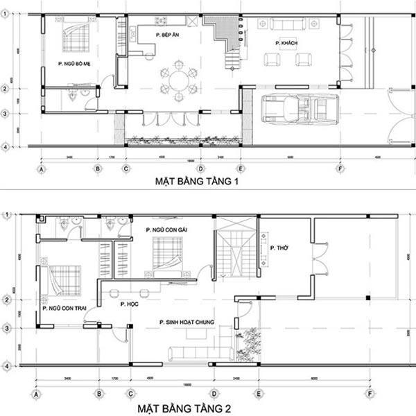 Bản vẽ nhà ống 2 tầng mái thái 95m2.