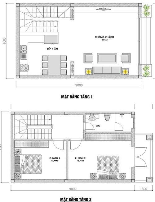 Bản vẽ thiết kế tầng 1 và 2 nhà ống 2 tầng 1 tum mái thái.