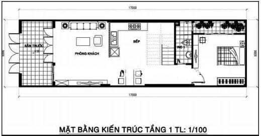 Bố trí mặt bằng tầng 1 trong thiết kế nhà phố 2 tầng 1 tum