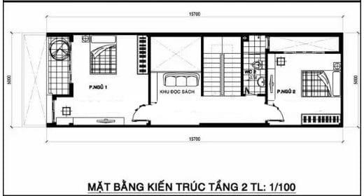Bố trí mặt bằng tầng 2 trong thiết kế nhà phố 2 tầng