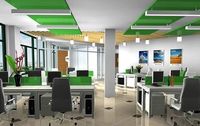 Văn phòng thiết kế màu xanh lá cây