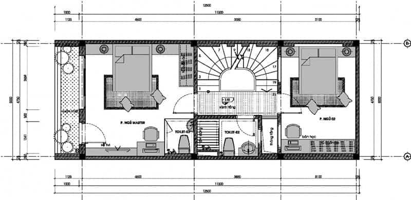 Bản vẽ lầu 1 mẫu nhà đẹp 3 tầng 5x12m