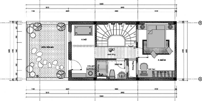 Bản vẽ lầu 2 mẫu nhà đẹp 3 tầng 5x12m