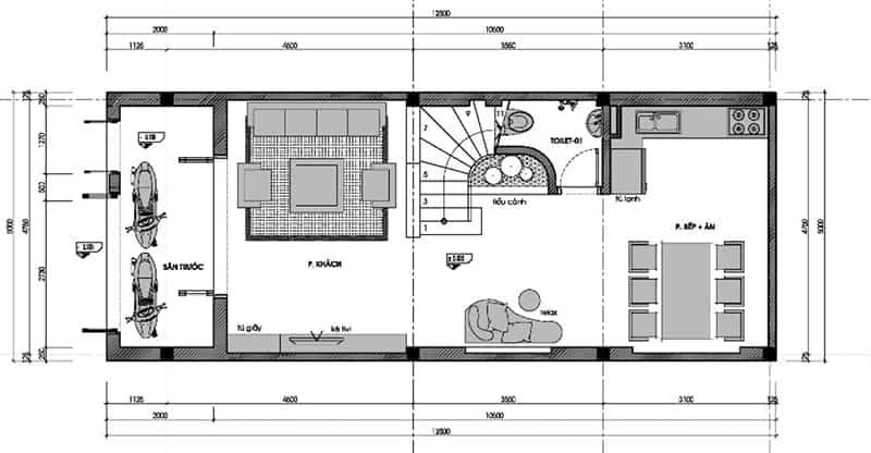 Bản vẽ trệt mẫu nhà đẹp 3 tầng 5x12m