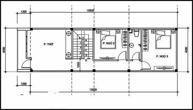 Thiết kế mặt bằng mái tôn bản vẽ nhà ống 2 tầng 3 phòng ngủ 54m2