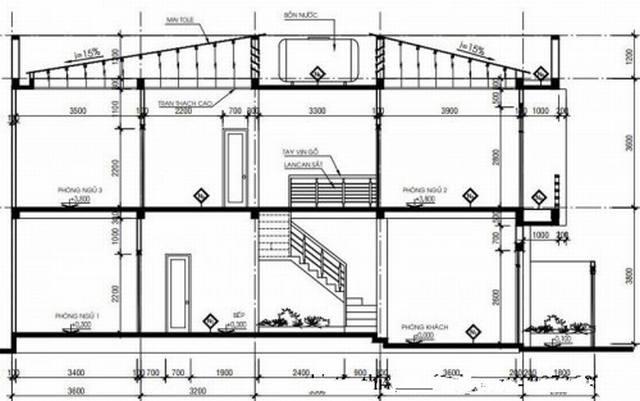 Bản vẽ chi tiết mặt cắt các tầng của mẫu nhà ống 2 tầng 5x15m .